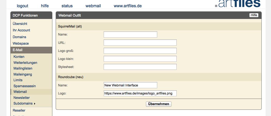 DCP Webmail Settings